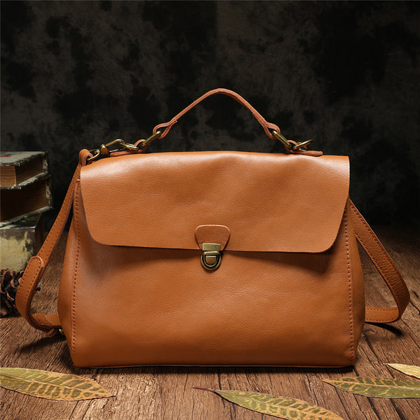 Handmade Brown Leather Satchel Bags Handbag Purses