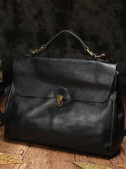 Handmade Black Leather Satchel Bags Handbag Purses