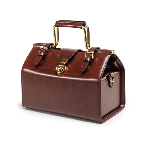 Leather Structured Small Doctor Style Handbag