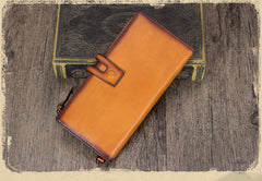 Distressed Leather Billfold Long Pocketbook Strap Wallet Purse