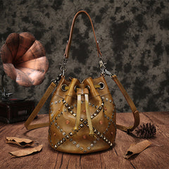 Brown Distressed Leather Studded Western Drawstring Bucket Bag Purse