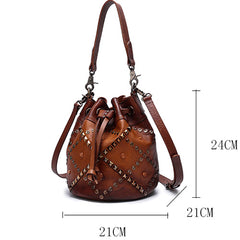 Rivet Western Drawstring Bucket Bag