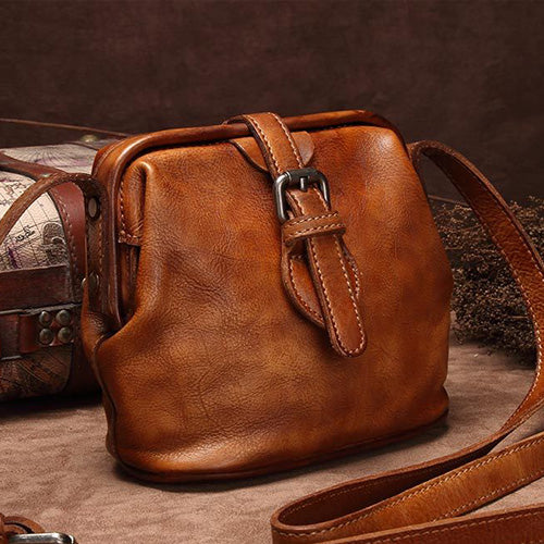 Brown Leather Small Doctors Crossbody Bags Purses