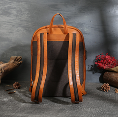 Mens Leather Zipper Backpack Laptop Bags