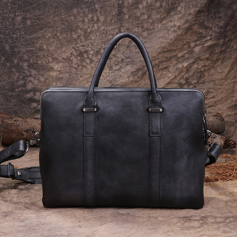 "Mens Distressed Leather 15"" Laptop Double Zipper Briefcase Purse Bag"