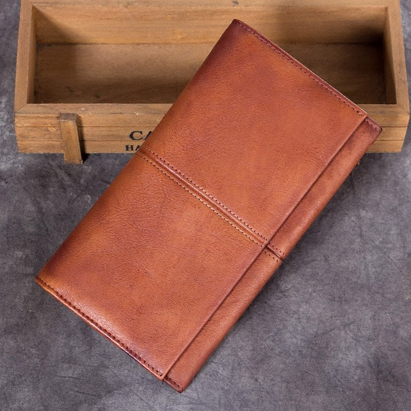 Rustic Flat Leather Long Pocketbook Wallet Purse Mens