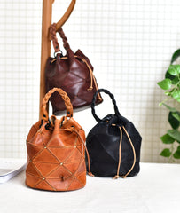 Leather Stitching Drawstring Bucket Bags