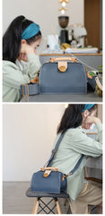 Vintage Womens Gray Leather Doctor Handbags Shoulder Purses Doctor Purse for Women