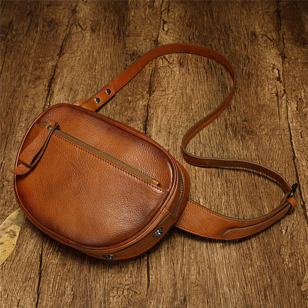 Small Leather Round Fannypack Side Bag