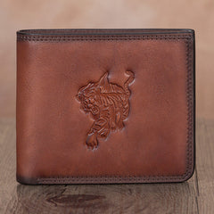 Small Tiger Leather Billfold Pocketbook Cards Wallet Purse