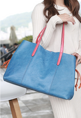 Soft Leather Shopper Horizontal Tote Bags Purses