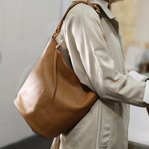 Tan Soft Leather Zipper Tote Bucket Crossbody Bag Purse