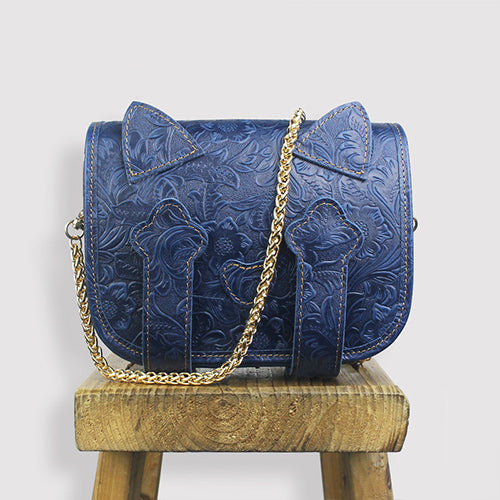 Tooled Leather Cute Kitty Women's Small Gold Chain Crossbody Bag