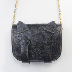 Leather Cute Kitty Women's Small Gold Chain Crossbody Bag