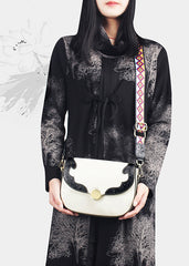 Leather Womens Flap Over Saddle Chain Strap Shoulder Bag