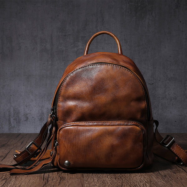 Distressed Leather Womens Zipper Backpack Bag