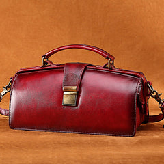 Purple Women's Doctor Bag Vintage Leather Doctor Bag