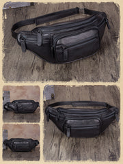 Black Leather Fanny Pack Hip Belt Bags Purses