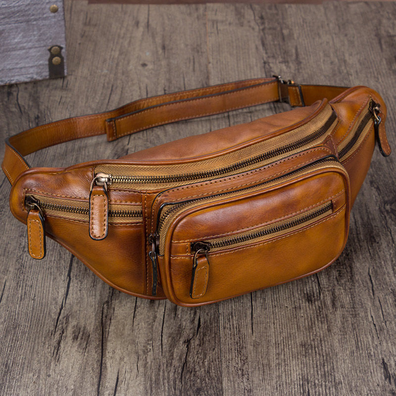 Brown Distressed Leather Fanny Pack Hip Belt Bags Purses