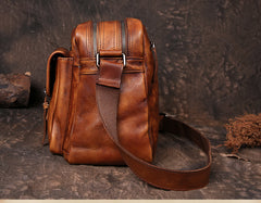 Mens Distressed Leather Messenger Bag Side Shoulder Bag