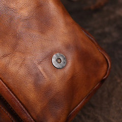 Brown Vintage Leather Messenger Bag Purse