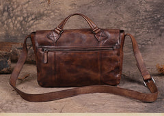Mens Vintage Leather Messenger Bag Flap Over Crossbody Bag