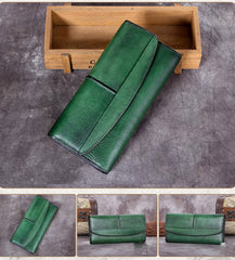 Rustic Leather Checkbook Long Billfold Wallet Purse Womens