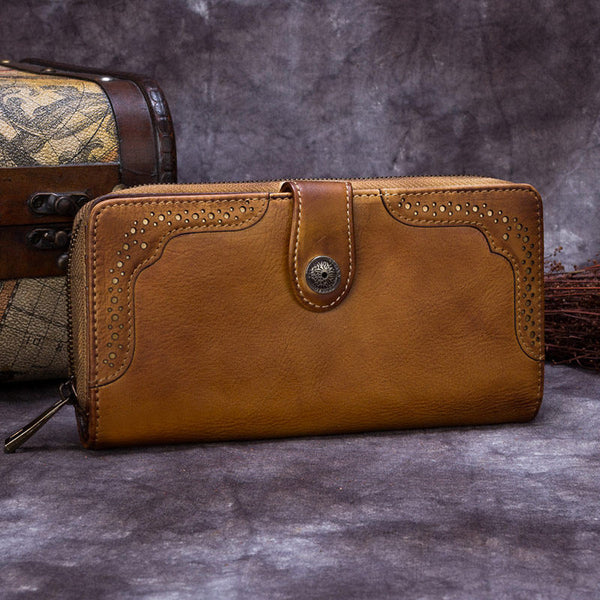 Brown Vintage Leather Zip Long Wallet Phone Clutch Purse