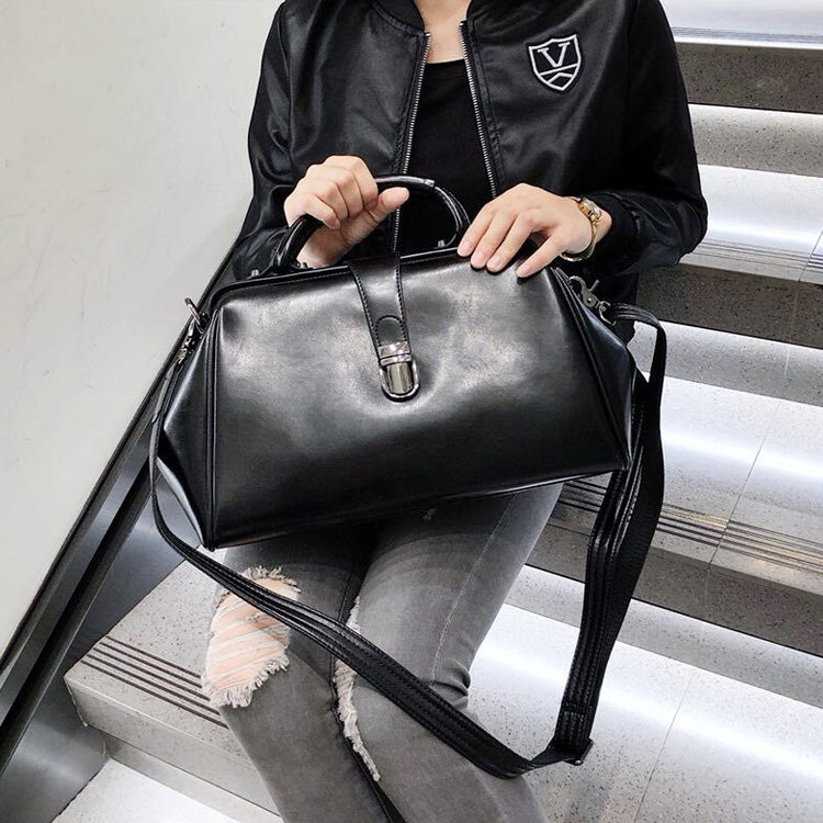 great discount for online retailer new concept Black Leather Doctor Bag Women's Doctor Bag Doctor Style Handbag