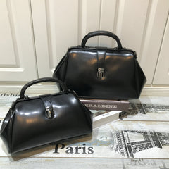 Women Black Leather Doctors Bag Handbags Purse