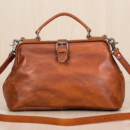 "14"" Women's Doctor Bag Vintage Leather Doctor Bag Purse Style Bag"