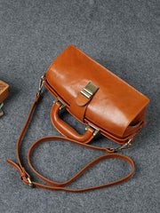 Female Leather Small Structured Doctor Style Satchel Handle Bag Purse