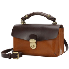 Women's Leather Small Handle Satchel Purse Bag