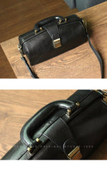 Womens Black Leather Doctor Handbag Purses Vintage Handmade Doctor Crossbody Purse for Women