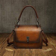 Womens Distressed Leather Flap Satchel Shoulder Purse Bag