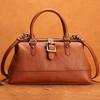 "Womens Leather 12"" Doctor's Bag Style Handbag Purse"