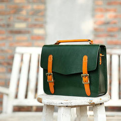 Womens Leather Satchel Bag Cambridge Green Structured Satchel Bag Purse