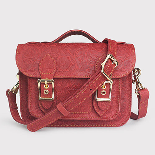 Small Womens Leather Satchel Bag Flora Tooling Top Handle Satchel Purse