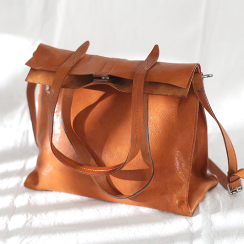 Womens Soft Leather Vertical Shopper Tote Bag Purse