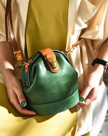 Handmade Womens Green Leather Doctor Bucket Shoulder Purses Green Doctor Crossbody Purse for Women