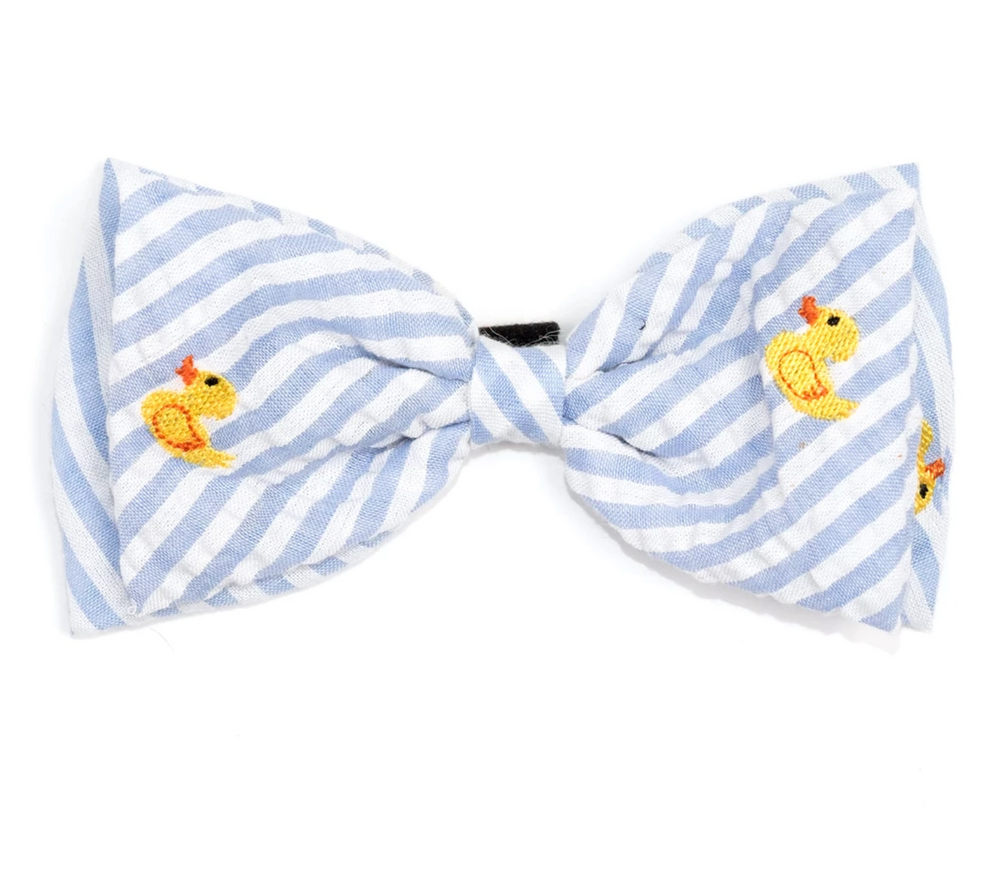 Lt. Blue Stripe Rubber Duck Bow Tie