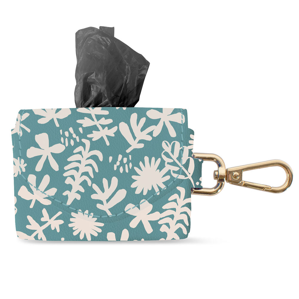 DESERT FLOWER FAUX LEATHER WASTE BAG KEYCHAIN
