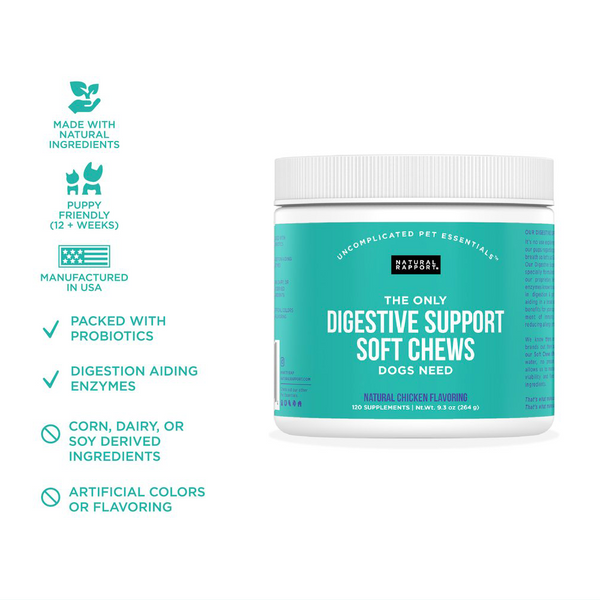 THE ONLY DIGESTIVE SUPPORT SOFT CHEWS DOGS NEED