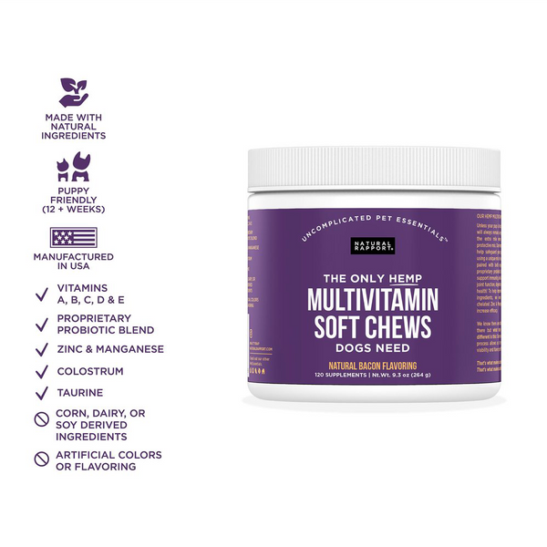 THE ONLY MULTIVITAMIN SOFT CHEWS DOGS NEED