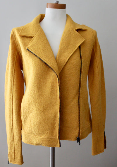 TAHARI Bright Spring yellow textured wool jacket