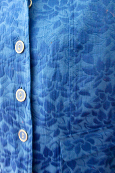 REBECCA MALONE Bright Winter blue jacquard jacket detail