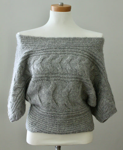 Soft Summer Gray Cable Knit Sweater