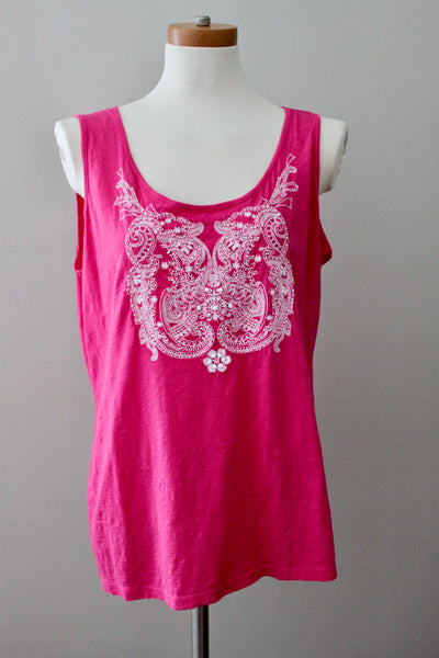 STYLE&CO Bright Winter rose beaded tank