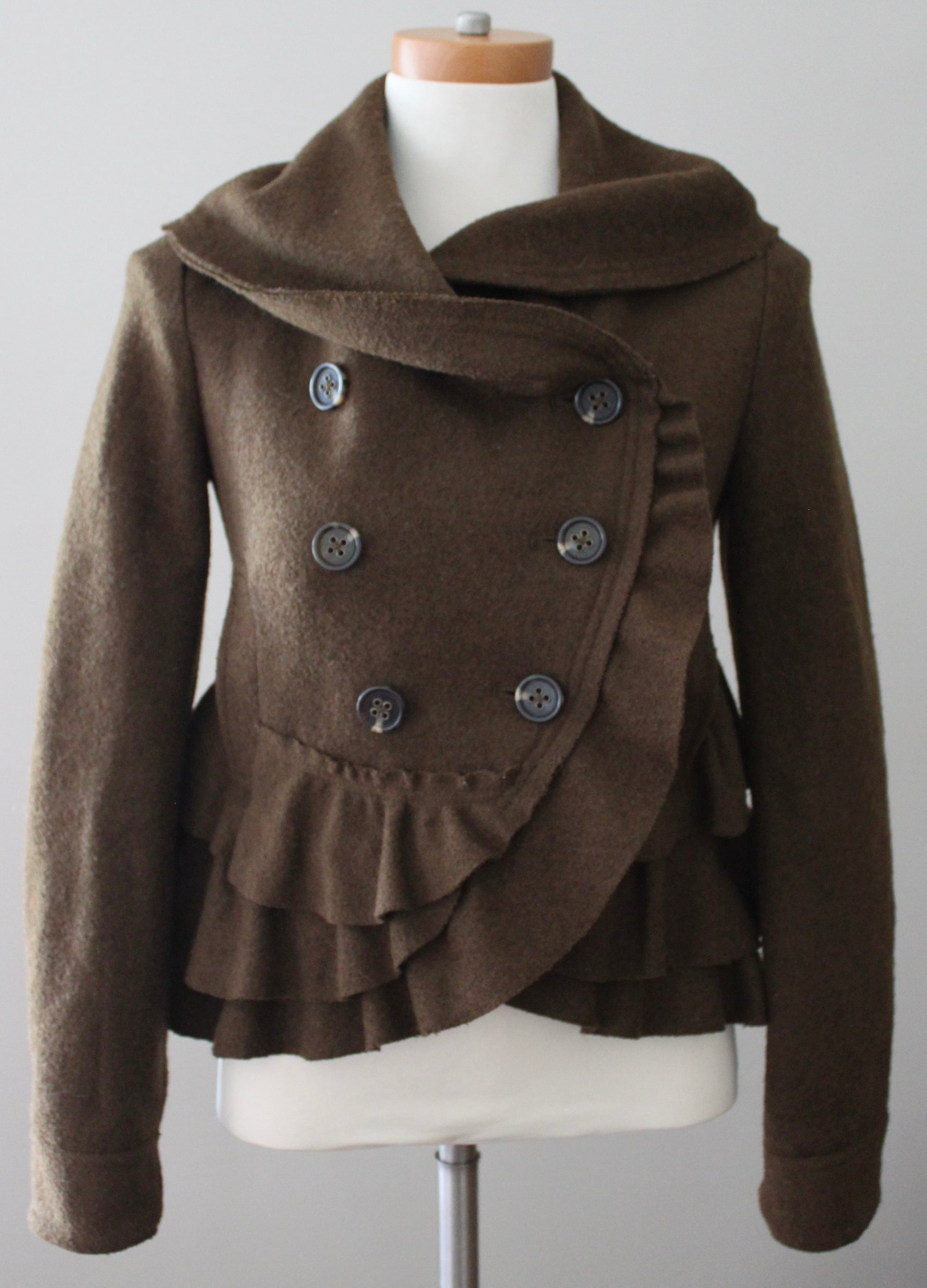 ELEVENSES for ANTHROPOLOGIE Dark Autumn brown wool ruffle pea coat