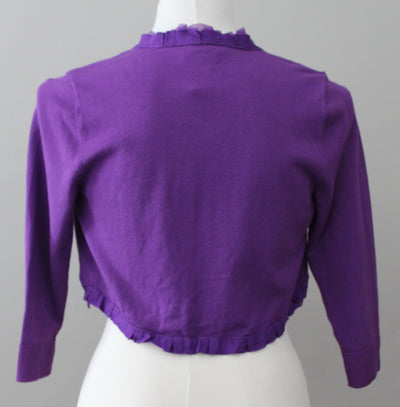 WHITE HOUSE BLACK MARKET Warm Spring purple bolero cardigan sweater